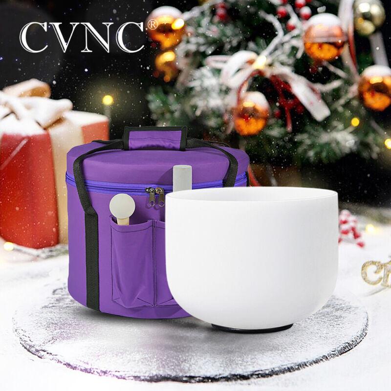 """CVNC 432Hz 10"""" Frosted G# Zeal Chakra Quartz Crystal Singing Bowl  + Bag"""