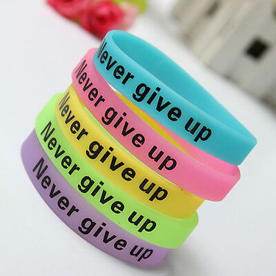 Silicone Luminous Rubber Bracelet Never Give Up Glow in the Dark Sport