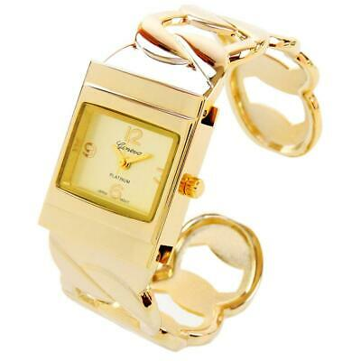 Gold Tone Curb-Link Chain Style Women's Bangle Cuff Watch