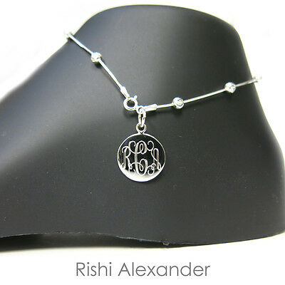 925 Sterling Silver Diamond-Cut Snake Moon Bead Monogram Personalized Anklet
