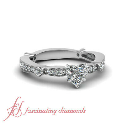 Tapered Milgrain Pave Set Engagement Ring 0.80 Ct Heart Shaped SI1 Diamond GIA