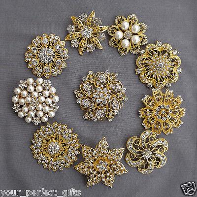 10 Rhinestone Brooch Gold X LARGE Pearl Crystal Wedding Bridal Brooch Bouquet