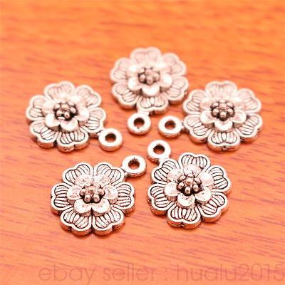 50 Pieces 15 12Mm Charms Rose Flower Pendants Jewelry Making Bracelet 7023H