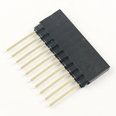 10pcs 2.54mm Pitch 10 Long Pin Single Stackable Shield Female Header For Arduino