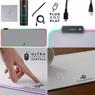 White RGB Gaming Mouse Pad XL Best Premium XXL Computer Desk Mat 10 Glowing LED (Best Gaming Mouse Mat)