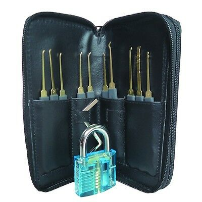 24pcs Locksmith Training Set Clear Practice Padlock Tools Locks Kit Key Guides