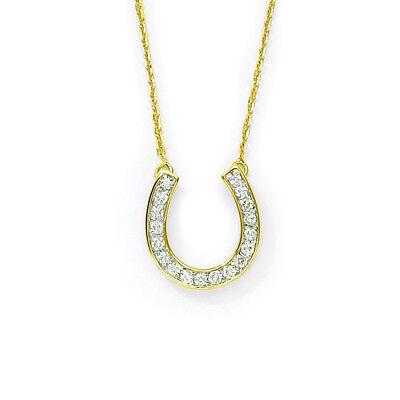 "14k Yellow Gold .25ct Diamond Horseshoe Pendant with 18"" Chain"