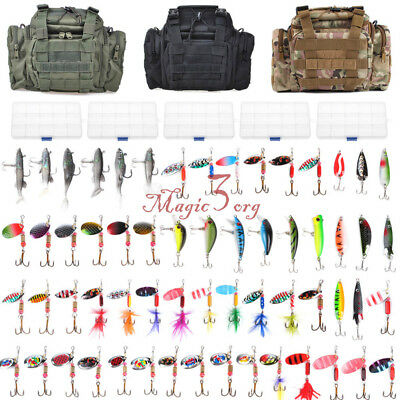 Fishing Tackle Bag Waterproof Storage With Set 60 Spinners Spoon Lure in 5 Boxes