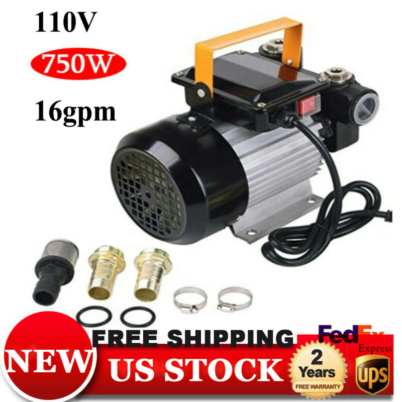 AC 110V Electric Oil Pump Transfer Self Priming Fuel Diesel 16GPM 2800r/m 750W