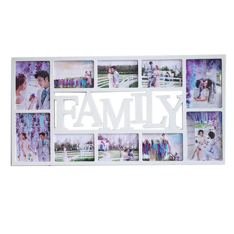 Family Love Heart Shape Multi Aperture Photo Picture Frame Holds 6/'/'X4/'/' Photos