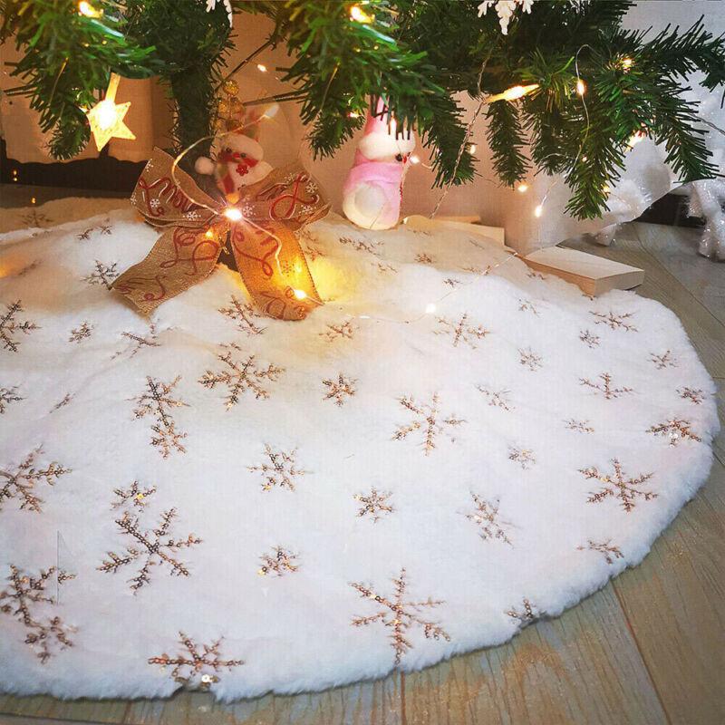 Christmas Tree Skirt Golden Snowflake Plush Floor Fur Mat Xmas Home Decor Gift
