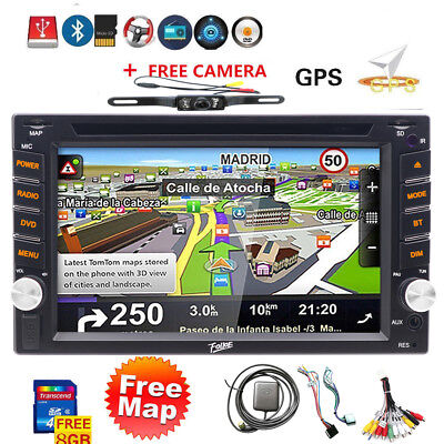 GPS Navigation Double Din InDash Car DVD Radio Stereo Player Bluetooth+camera