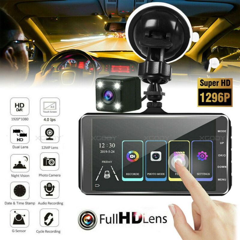 """4.0"""" Touch Screen Dash Cam Car DVR Front and Rear Camera Video Recorder G-sensor"""