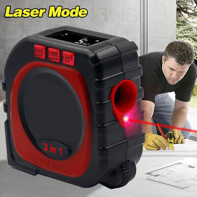 New Laser 3-in-1 Digital Lcd Display Level Vertical Measuring Measure Tape Tool