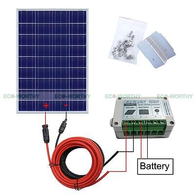 Eco Solar Panel System 100W Solar Panel Off Grid Home Power Charge 12 Battery