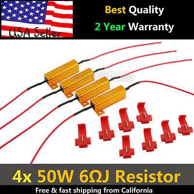 4PCS 50W 6RJ LED Load Resistor Decoder Fix Error Code Hyper Flash Turn Signal  ()
