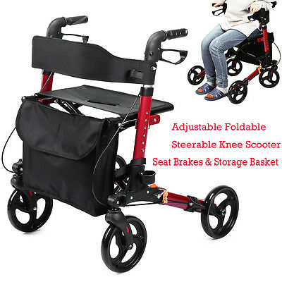 Elenker Euro Style Seat   Back Folding Rollator Walker Four Wheel Drive Medical