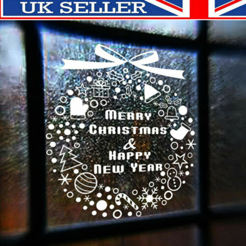Home Decoration - Merry Christmas Gift Wreath Wall Window Stickers Decals XMAS Home Shop Decor  D