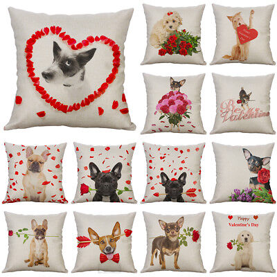 Valentine's day Dog And Rose Cotton Linen Pillow Case Cushion Cover Home Decor ()
