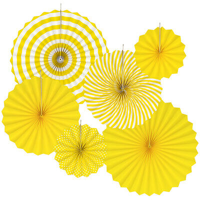 Paper Hanging (Floral Reef 6 Pc Hanging Paper Fan Rosette Party Event Wedding Decoration)