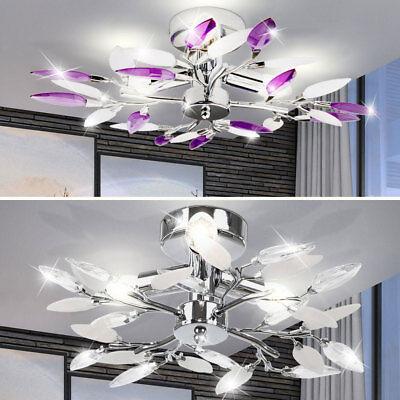 Esszimmer Deckenleuchten (Wohnzimmer Deckenleuchte Design Lampe Esszimmer Decken Leuchte Lila Weiß Blätter)