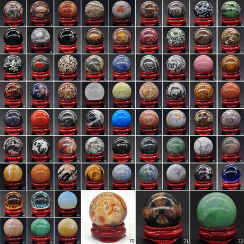 30MM Round Ball Gemstone Lots Mix Natural Crystal Sphere Healing Globe Chakra