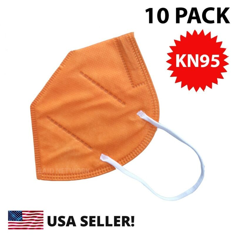 New 10 Pack Kn95 Orange Face Mask Cover Protective Respirator Masks Kn 95