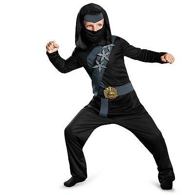 Boys Black Ninja Costume Deluxe Halloween Outfit Samurai Mask Child Kids NEW](Kids Ninja Outfit)