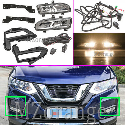 Front Bumper Fog Light Driving Lamp Kits For Nissan Rogue X-Trail 2017 2018 2019