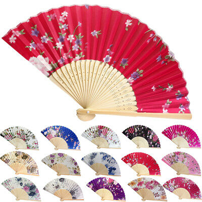 - Bamboo Folding Hand Held Flower Fan Chinese Dance Party Pocket Vintage Style