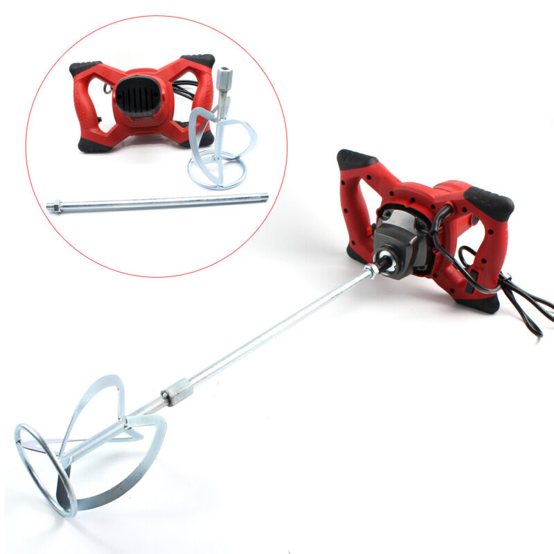 1500W Electric Paddle Mixer Plaster Mixing Paint Stirrer Plastering Whisk 6Speed