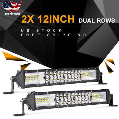 2X 12 Inch 1088W Led Work Light Bar Flood Spot Combo Car Truck Suv Pk Tri Row 9