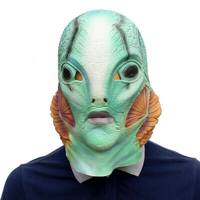 Fish Man Costume (Cosplay Hellboy Blue Fish Man Latex Helmet Mask Halloween Party Costume)