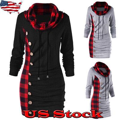 Womens Dressing - Womens Long Sleeve High-collar Hoody Sweater Hoodie Dress Loose Casual Long Tops