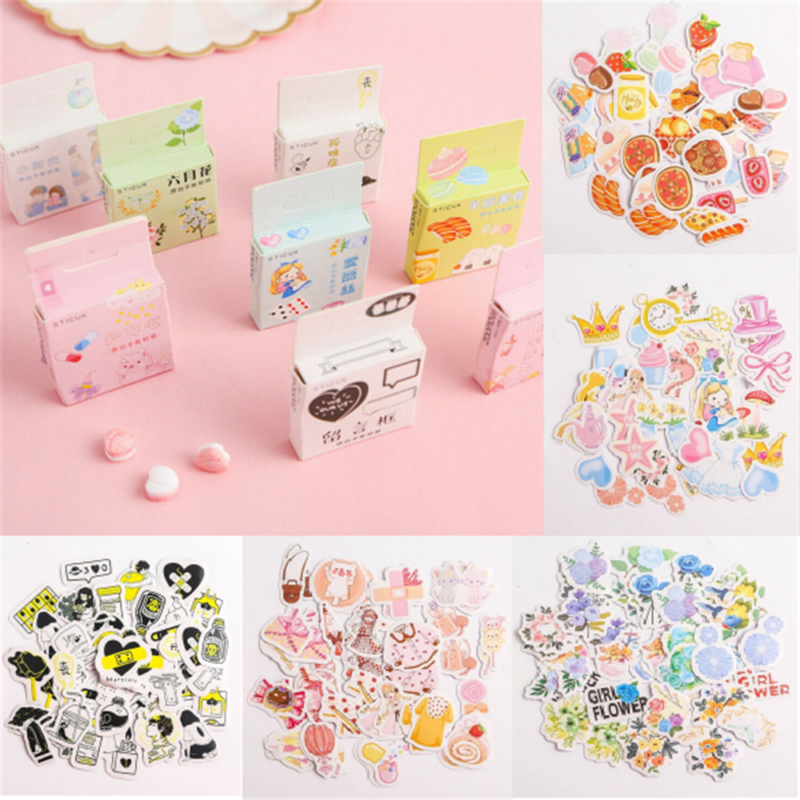 40PCS Cute Stickers Kawaii Stationery DIY Scrapbooking Diary
