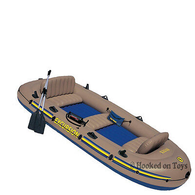 Intex excursion 5 boat set five person inflatable fishing for Wood floor intex excursion 5