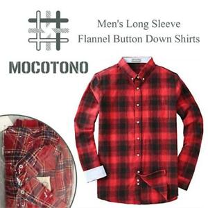 New  MOCOTONO Mens Long Sleeve Flannel  Button Down Shirts Condition: New, Size: large, Plaid Dress Shirt Western