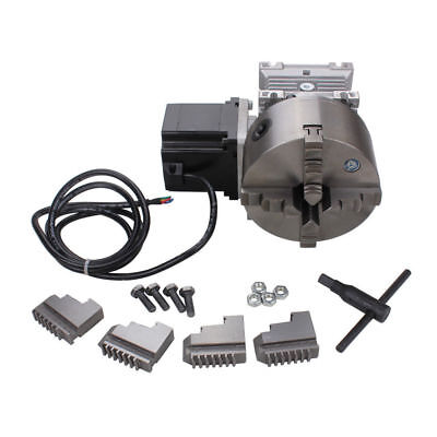 Cnc Gearbox Router Rotary A 4th Axis 4 Jaw 130mm Chuck 201 Engraving Machine