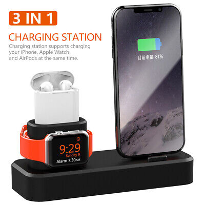 UK Charger Holder Charging Dock Stand Station for Apple Watch For iPhone XS XR 8