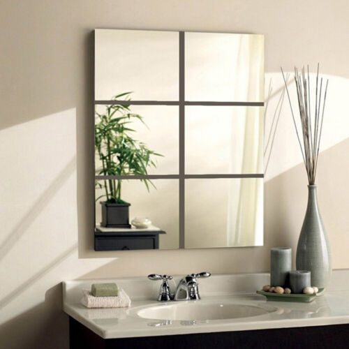 Home Decoration - 6-Pack Squre Mirror Tile Wall Stickers Mosaic Room Makeup Home Decor 3D Adhesive