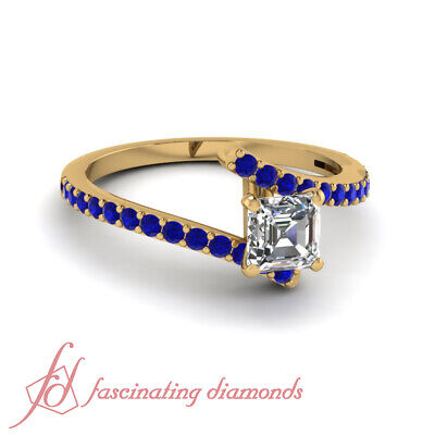.65 Ct Asscher Cut Diamond Rings Pave Set 18K Yellow Gold GIA With Round Accents