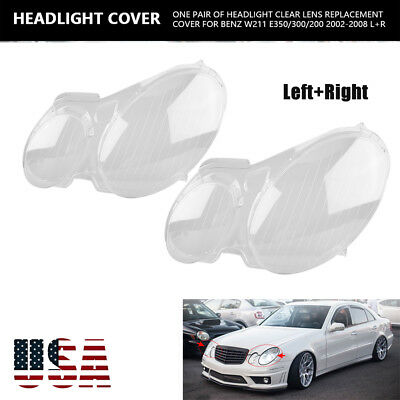 Headlight Lens Replacement Cover Left+Right for Benz W211 E350/320/200 2002-2008 ()