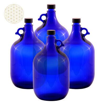 4 X Globo de Cristal Botella 5 Litros Azul Flor la Vida...