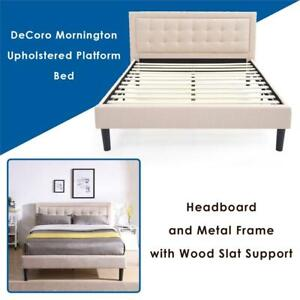 NEW Classic Brands DeCoro Mornington Upholstered Platform Bed | Headboard and Metal Frame with Wood Slat Support | Li...
