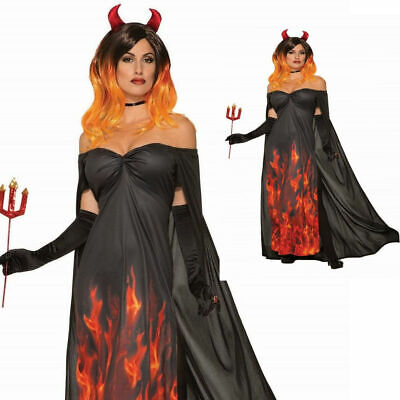 Erwachsene Rot Teufel Dämon Flammen Feuer Halloween Damen Kostüm - Feuer Dämon Kostüm