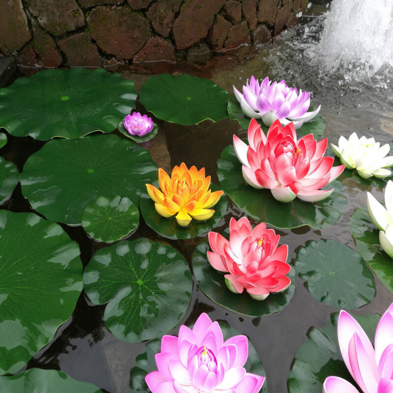 2pcs Artificial Lotus Water Lily Floating Flower Garden Pool Pond
