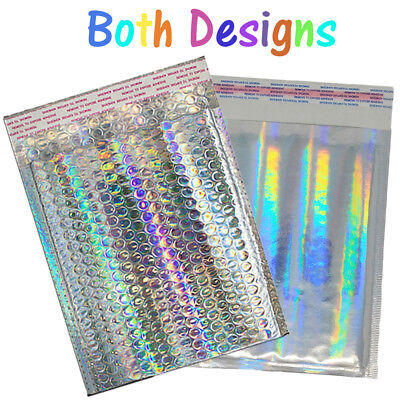 6x10 Holographic Foil Metallic Bubble Mailers Combo Pack Padded Shipping Usps