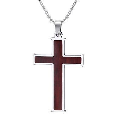 Mens 316L Stainless Steel Brown Wood Inlay Cross Pendant Chain Necklace 24 inch