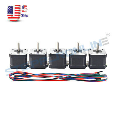 1-5pcs Nema 17 Stepper Motor 1.7a 44ncm62.32oz.in For Cnc 3d Printer Extruder