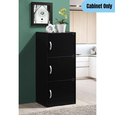 Modern 3-Door 3-Shelf Cabinet Home Office Kitchen Closet Storage Organizer Black